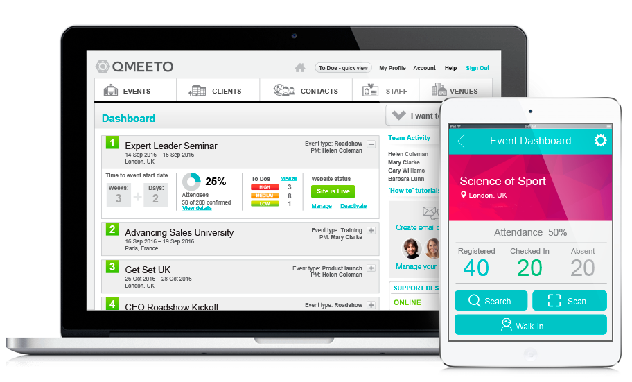 Dashboard showing Qmeeto event management software